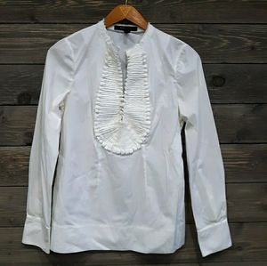 BCBGMaxazria Ruffle Dress Shirt white sz S